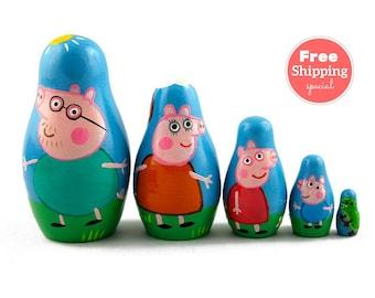 FREE Shipping * Pigs Nesting dolls for kids (5 pcs) * Matryoshka * Russian nesting doll * Stacking dolls * Hand Painted Nesting dolls