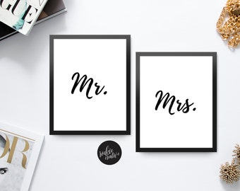 Mr and Mrs | Quote | Graphic Wall Art Poster Print | Printable | Instant Download | Black and White | Typography
