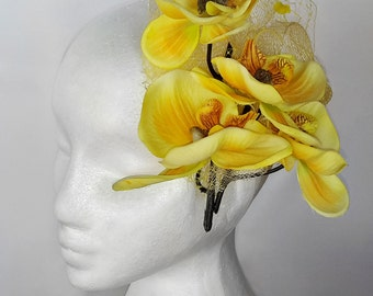 Yellow Orchid Flowers Fascinator