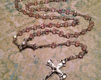 6mm AB Light Pink Glass Handmade Rosary