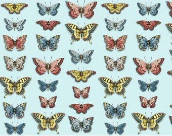 Butterfly fabric - Vintage fabric - Shabby chic fabric - Quilting fabric - Dressmaking fabric - Blue fabric - Summer cotton print -Fabric UK