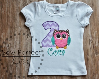 owl birthday shirt, owl birthday onesie, monogrammed owl shirt, personalized owl birthday shirt, owl onesie, owl applique, owl themed party