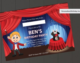 Magic Show Birthday Invitations For Boys - Personalised & Printable Birthday Invites