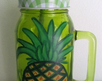 Hand-Painted Green Glass Mug with Lid and Straw, featuring a Pineapple and Polka Dots