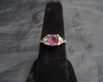 Sterling Silver Emerald Cut Amethyst  Ring 2 Grams Size 6.75