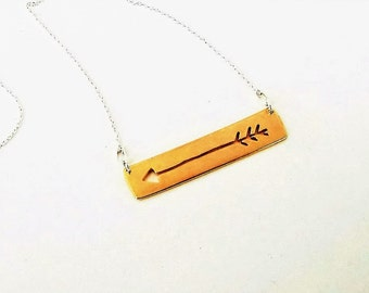 Arrow necklace - Sterling silver necklace with golden arrow