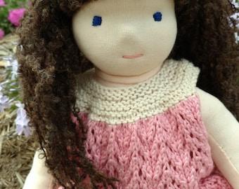 Girl Waldorf Doll / Girl Steiner Doll - Girl, Brunette Hair, Brown Hair, Blue Eyes, Knit Dress, 16 inch