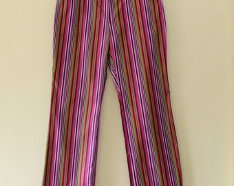 Vintage Women's Summer Pants Stripped Pants Pink Purple Green Pants Cotton Pants Hipster Pants Hippy Pants Cotton Trousers Size Extra Large