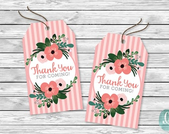 Bridal Shower Printable Thank You Tags / Bridal Shower Favour Tags / Floral Thank You Tags Printable / Baby Shower Favor Tags / Pink