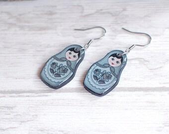 Matryoshka Earrings Gray Matryoshka Jewelry Matryoshka Doll Earrings Russian Doll Earrings Babushka Jewelry Grey Babushka Earrings Gift Idea