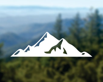 MOUNTAINS Decal, Nature Sticker, Car Window Decal, Laptop Decal, Water Bottle Decal, Phone Decal, Bumper Sticker, Adventure Decal