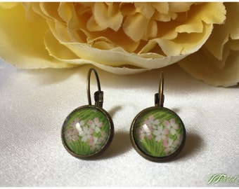Bronze earrings, earrings with cabochon flowers Primroses, sarabanda Earrings style, mother's day gift, gift mother day, gift