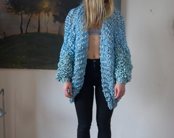 Oversized Blue Chunky Knit Cardigan