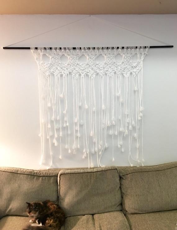 Extra Large Macrame Wall Hanging Handmade white with black
