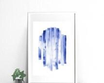 Minimalist Blue abstract watercolor print, printable artwork for digital download 4x6 print, 5x7 print, 8x10 print, 18x24 print wall art