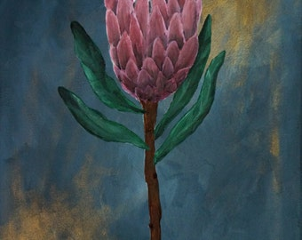 Protea on blue Acrylic Painting on Canvas