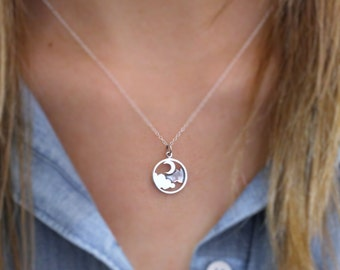 Moon and Cloud Necklace - Sterling Silver Moon and Cloud Pendant - Night Sky Pendant - Silver Lining Necklace - Moon Necklace - Celestial