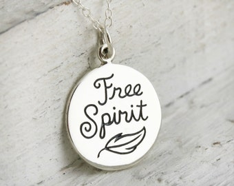 Free Spirit Necklace - Sterling Silver Free Spirit with Feather Charm Necklace - Free Spirit Pendant - Bohemian Necklace - Boho Jewelry