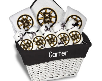 Boston bruins baby etsy personalized boston bruins baby gift basket 2 bibs 5 burp cloths towel set negle Image collections
