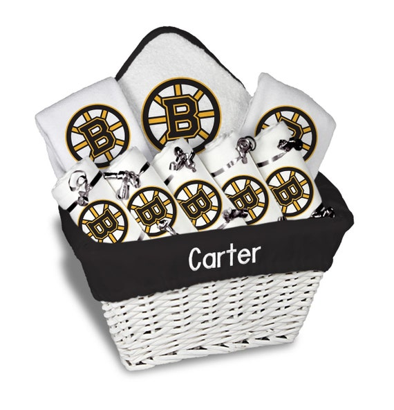 New Baby Gift Baskets Boston : Personalized boston bruins baby gift basket bibs burp