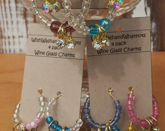 Rhinestone wine glass charms-set of 4