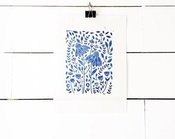 Blue Floral Print, Linocut Print, Scandinavian Print, Lino Print, Flower Art Print, Blue Art Print, Blue Artwork, Linoleum Print
