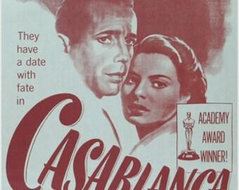 1942 Classic Casablanca Movie Poster Bogart & Bergman Michael Curtiz 24x36