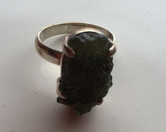Moldavite and sterling silver ring.