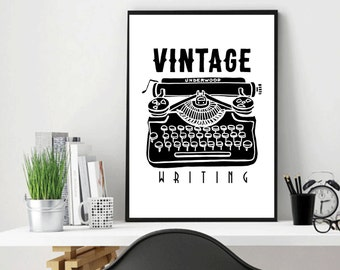 Writing Machine, Vintage, Writing Print, Vintage Art, Writing Accessories, Room Wall Art, Vintage, Writing Poster, Gifts for writers, Gift