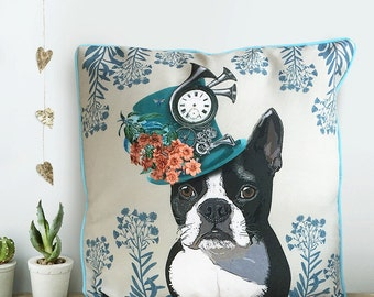 Boston Terrier cushion Boston Terrier pillow Dog pillow cover Dog scatter cushion Gift for dog lover gift Decorative Throw Cushion accent