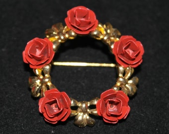 Vintage Gold Tone and Red Enamel Brooch
