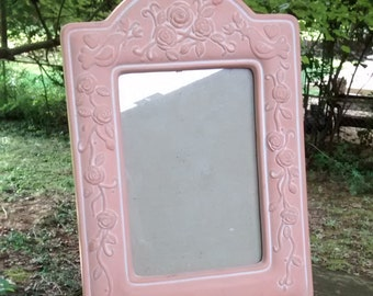 Shabby chic pink picture frame / Terra cotta unglazed ceramic pink frame with flowers and birds