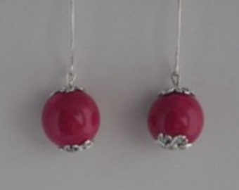 Tagua earrings pink with large hook