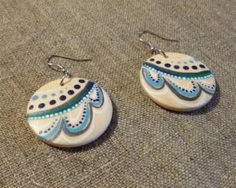 Wooden Earrings. Blue Painting Wood Jewelry. Folk Jewelry. Painting jewelry