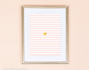 Nursery Decor - Pink White and Gold - Real Gold Foil Print - Pink and white stripes - Love Nursery Print - Modern Nursery Decor