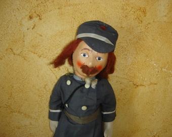 Vieille poupée chiffon. Douanier ou garde champêtre ou facteur. Old duk doll. Vintage. France