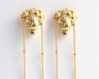 Gold Skull Earrings, Dangle Stud Earrings, Long Dangle Earrings, Gothic Earrings, Sugar Skull Earrings, Skull Dangle Earrings, Frida earring