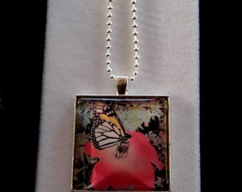 Butterfly with Red Flower Glass Dome Pendant