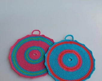 Crocheted Pot Holders, set of two, handmade item, cotton, colourful, decorating and using accessory,