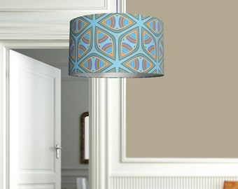 Blue wheel lampshade // Fabric lampshade for the home