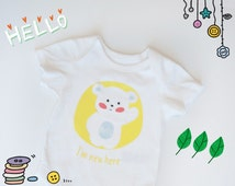 Hello I'm New Here, Baby shower gift, Newborn hospital outfit, Modern baby clothes. Cut baby, Adorable Gift