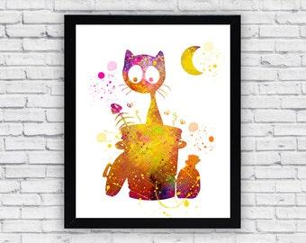 Stray Cat Watercolor Printable, Stray Cat Printable Wall Art, Stray Cat Printable Poster