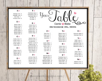 Wedding Seating Chart / Wedding Seating Plan With Pink Hearts - PDF + JPG Format (16x20, 18x24, 24x36, A1, A0, )