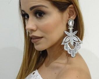 Silver Earrings. Braid Dangle Earrings