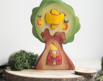 Tree and Dwarf  Puzzle. Wooden  Puzzle. Waldorf Toy. Montessori Toy for Baby and Toddler. Educational Toy. Handmade Eco-Friendly Toy.