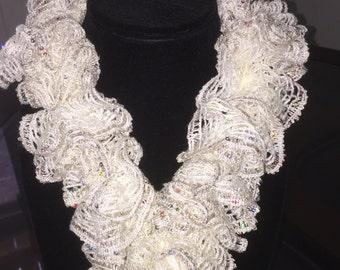Sashay scarf, ruffle scarf, scarfs, white ruffle scarf