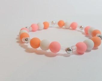 6mm orange Beads, Transparent beads, 6mm white beads, Beaded Bracelet, Gift Bracelet, Colorful Bracelet, Handmade Bracelet, Girlish bracelet