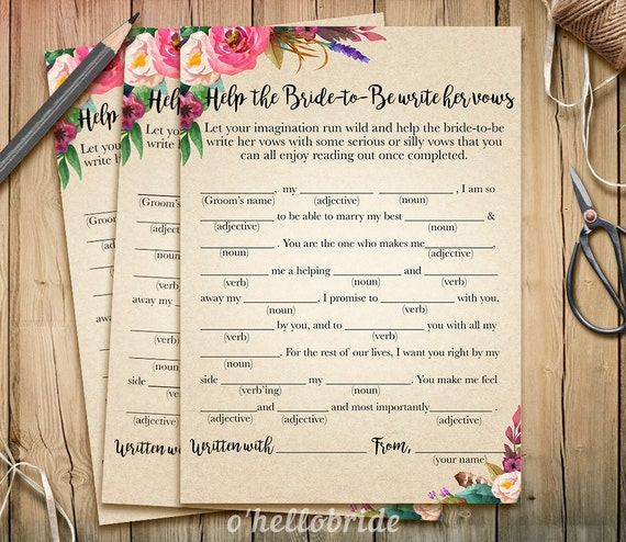 Help The Bride To Be Write Her Vows Bridal Shower Game