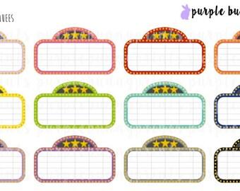 Rainbow Movie Marquees // Planner Stickers!