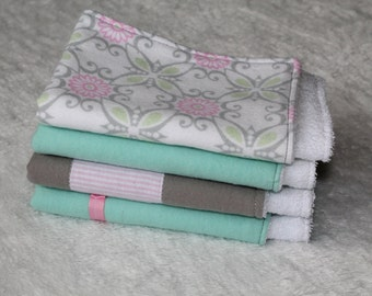 Baby Girl Burp Cloths, Baby Burp Cloth Set, Set of 4